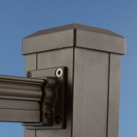 Cable Railing Flat Post Cap by KeyLink - Textured Bronze - 3-9/32 inch - Installed