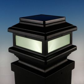Gemini Solar Post Cap Light by Aurora Deck Lighting - Matte Black - lit