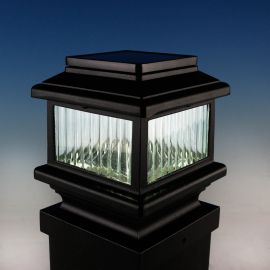 Polaris Solar Post Cap Light by Aurora Deck Lighting - Black - lit