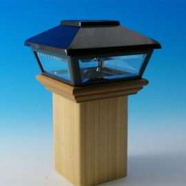 Add gorgeous light without the work using the Decorative Solar Post Cap for Wood Post by Deckorators, shown in Black.