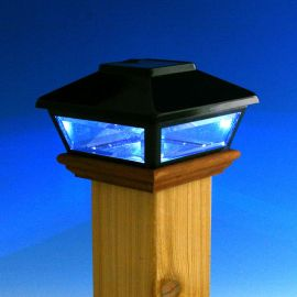 Decorative Solar Post Cap for Wood Posts by Deckorators - Lit Up