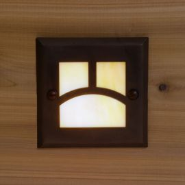 Moab Recessed LED Riser Light by Highpoint Deck Lighting - Antique Bronze - lit