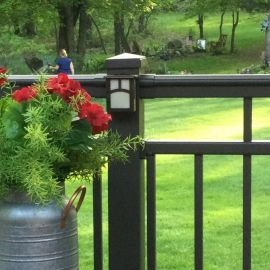 Our customer, David L. of Michigan, accented their railing with the Antique Bronze Moab LED Rail Light.
