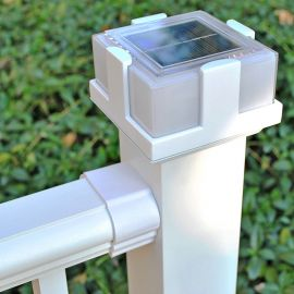 Deckorators ALX Classic Nouveau Solar Post Cap Light - White - Installed with ALX Classic Rail