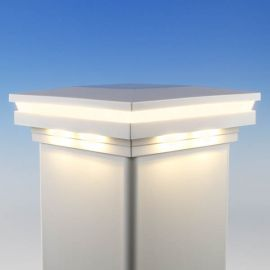 Ornamental Combination Low Voltage Post Cap by LMT Mercer - Warm (3k) Lit - White