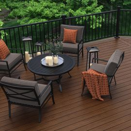 Highlight your home's outdoor living space with the rugged strength and unique wood grain look of Deckorators Trailhead Fascia Boards, shown in Pathway.