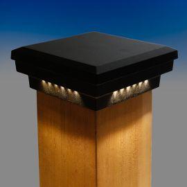 Premium Cast Flat Top LED Post Cap Light by Dekor - Antique Metal Black - Lit