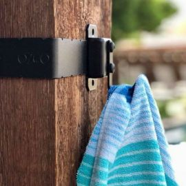 Towel Hook Hanger Accent by OZCO Ornamental Wood Ties - installed