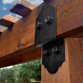 "Post to Beam Bracket Kit by OZCO Ornamental Wood Ties-6"" - Installed"