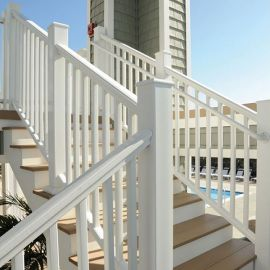 The Universal Bottom Rail for Azek Railing completes your deck's level and stair railing setups.