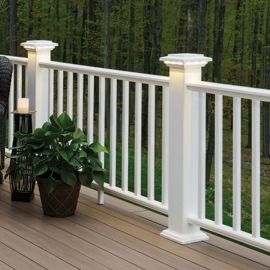 Universal Bottom Rail pictured with square composite balusters, top rail, and post caps (all sold separately).