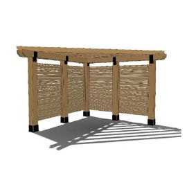 Ironwood Privacy Pergola for 8x8 Posts by OZCO Ornamental Wood Ties