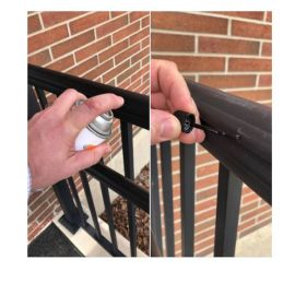 Privacy Rail Touch-Up Paint is offered in a 3 ounce paint pen, a 5 ounce paint bottle, or a larger 12 ounce aerosol spray bottle (aerosol and paint bottle use pictured).
