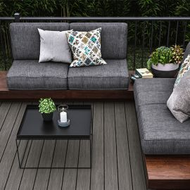 Deckorators Trailhead Deck Boards, shown in Ridgeline, blends value and performance to deliver a high-quality composite decking option.