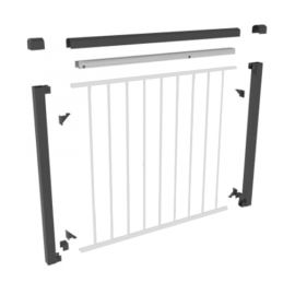 Shown in the Round Accent Top Rail option, the Fortress AL13 Home Gate Kit should be paired with the AL13 Level Rail Panel (sold separately).