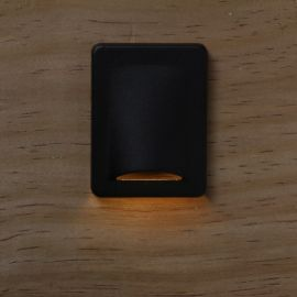 Rectangle Recessed LED Stair Light with Cover by Dekor - Antique Metal Black - Installed - Light On