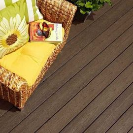 Fiberon composite decking, such as the Sanctuary line here in Espresso, provides a durable and gorgeous deck flooring option.