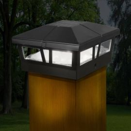 The universal appeal of the Cambridge Solar Post Cap Light by Classy Caps in black polishes off any deck railing design.