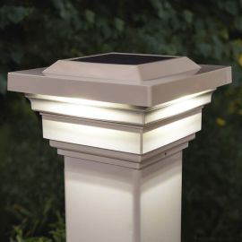 Regal Solar Post Cap Light by Classy Caps - Tan Illuminated