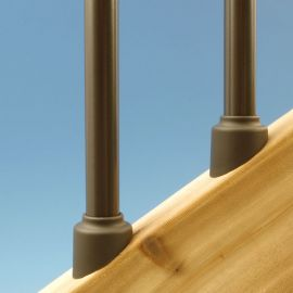 Round Architectural Stair Baluster Connectors by Solutions shown in Bronze (only available in Black)