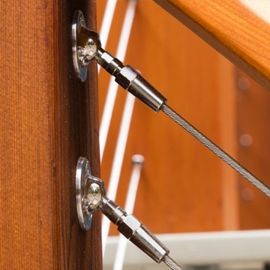 The RailEasy™ Swivel End-Flat by Atlantis Rail Systems allows cable railing to achieve angles up to 45 degrees.