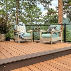 For a great color combination, coordinate Tiki Torch Trex Transcend Decking with Spiced Rum Riser Boards.