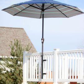 Umbrella Holder for Deck Rail - Black - Installed with Umbrella