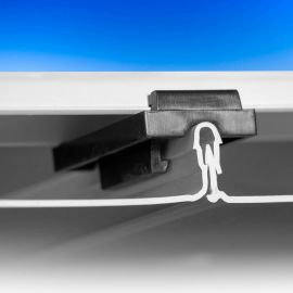 Glide Clip for UpSide Deck Ceiling - Installed - On Starter Strip with Channel - Details