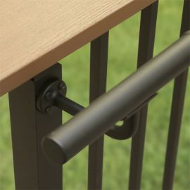 Extended Wall Mount Handrail Support by Westbury Aluminum Railing - Bronze Fine Texture - Installed