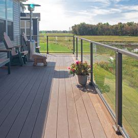 Glass Panels for Westbury Veranda Glass Railing - Installed in Bronze Fine Texture Rails