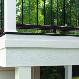 Woodgrain White Fascia Boards by Trex create a perfect and crisp trim for your deck's perimeter.