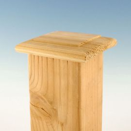 Thin and sleek, the Wood Flat Top Post Cap without Skirt by Woodway protects and shields your post and hardware.