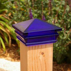 "Glass Post Cap - Cobalt Blue, 3-5/8"""