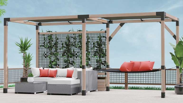 4x4 LINX Pergola set with seating area and hammock