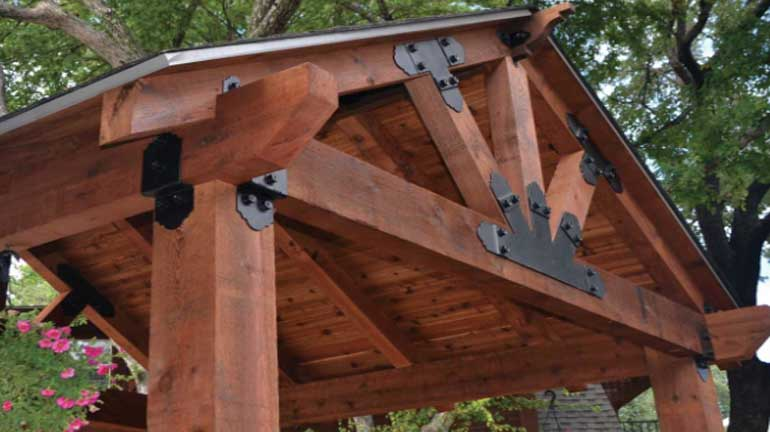 The upper roof section of a pergola kit using OZCO products