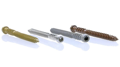 Composite screws with designs for ultimate performance in the rich decking colors.