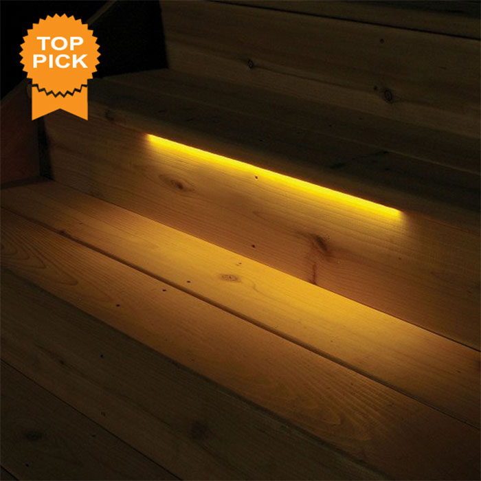 Aurora Odyssey LED Strip Light installed in cedar steps