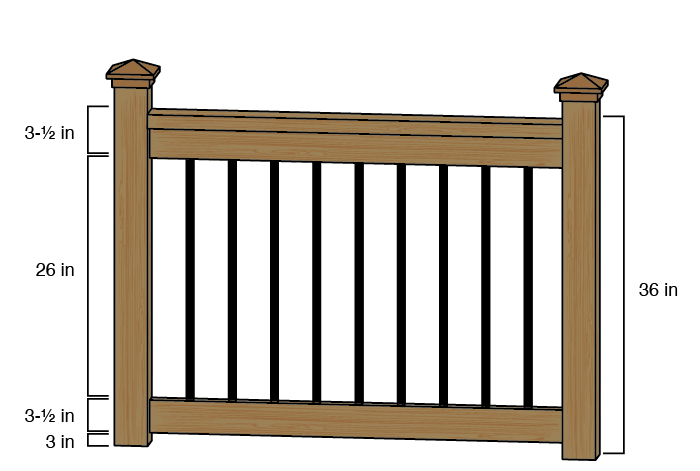 Baroque Architectural Face-Mount Aluminum Balusters installed on wood rails.