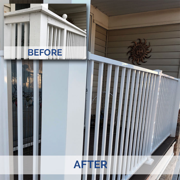 a deck railing before and after