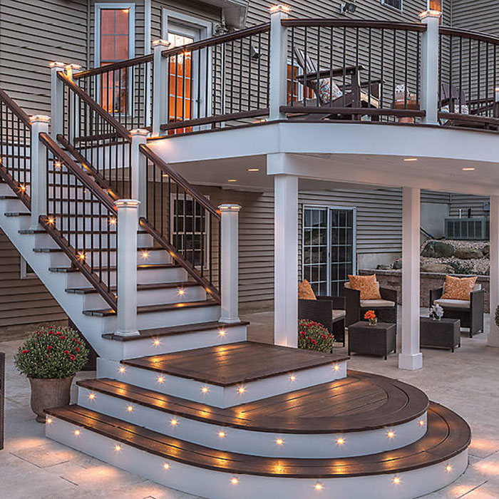 a composite deck featuring Trex Deck lighting