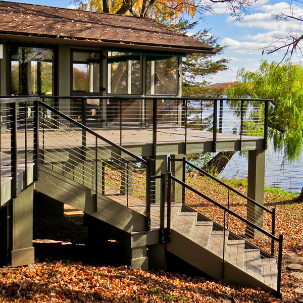 Cable Railing on cabin deck built by Phi Decks of Minnesota