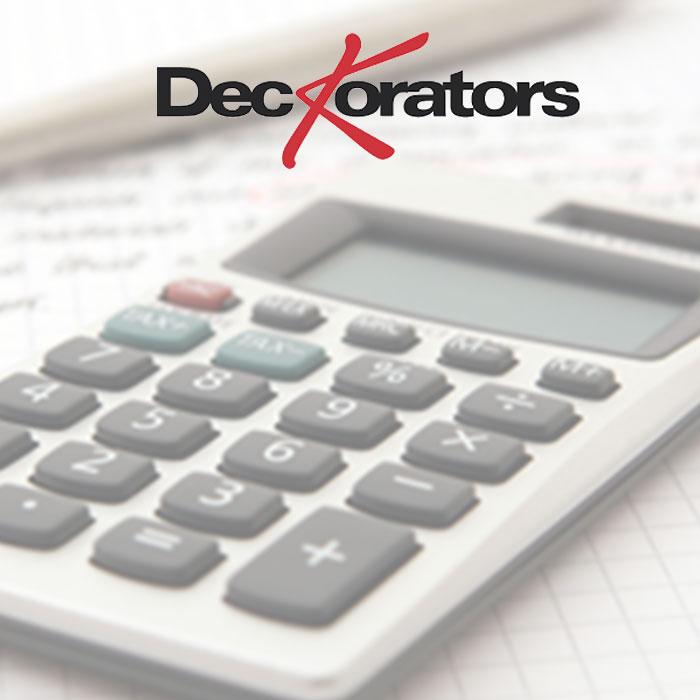 Deckorators baluster calculator - calculator with Deckorators logo over it