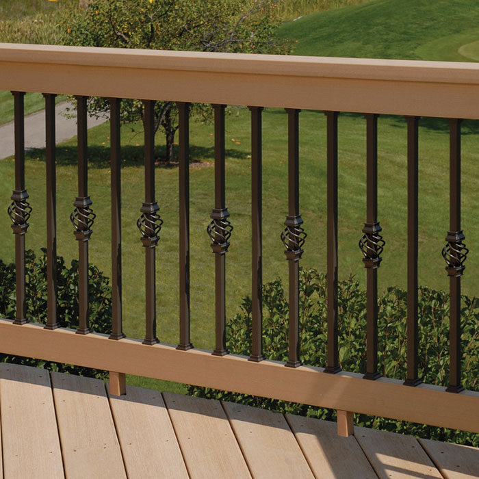 Deckorators Basket Accessory for Estate Square Aluminum Baluster on cedar railing