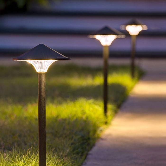 Dekor Mushroom Path lights illuminate a walkway