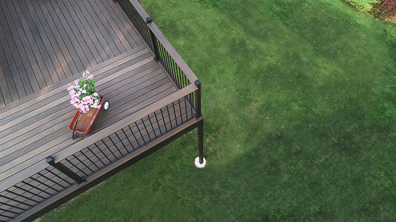 Airial shot of Fortress AL13 Home railing in Textured Black with composite drink rail
