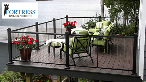 Fortress Vertical Cable Railing in Black Sand