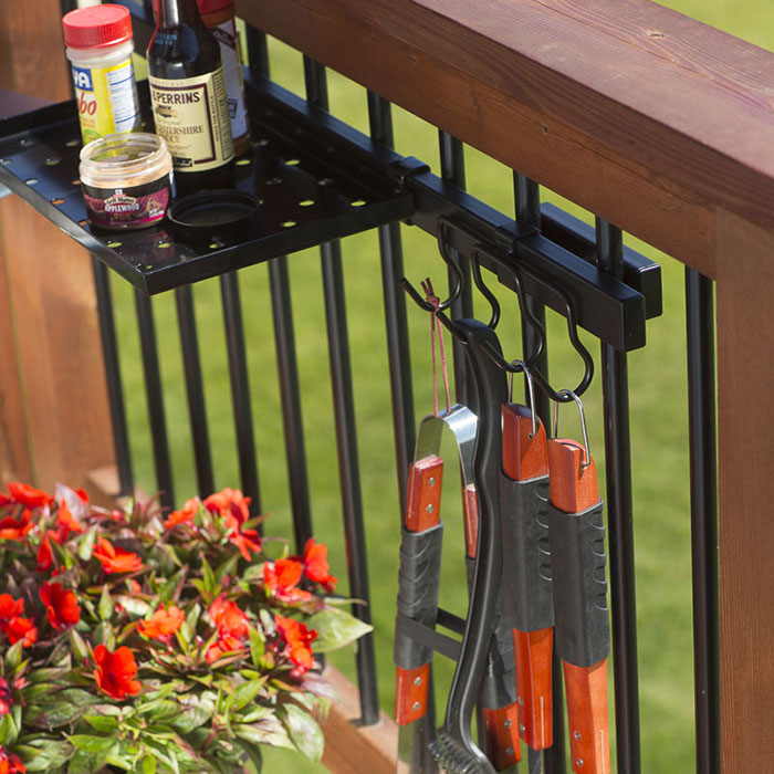 Hold it Mate shelf holding grilling supplies and Hold it Mate Hooks with Griilling tools