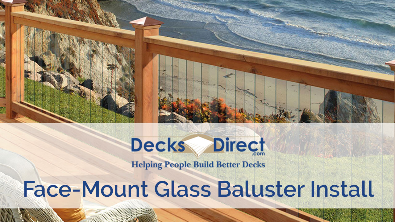 a cedar deck by the sea featuring face mount glass deck balusters