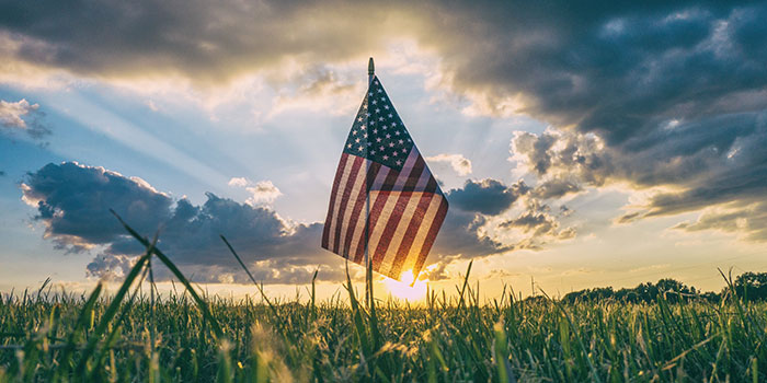 small American Flag stuck in the group at sunset