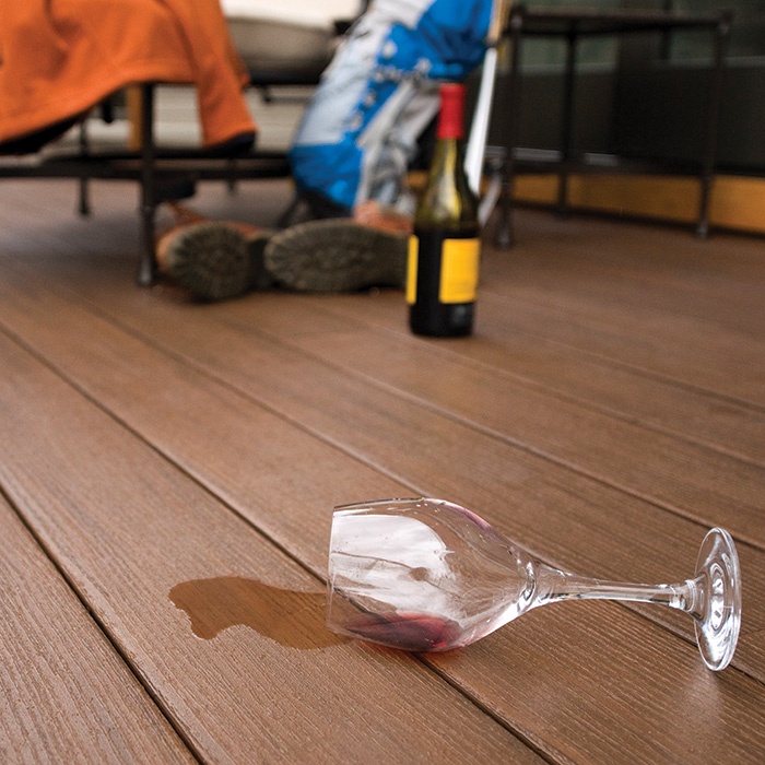 wine spilled on deck